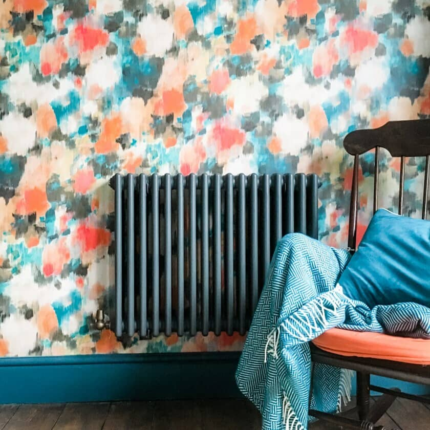 anthracite radiator on colourful wall