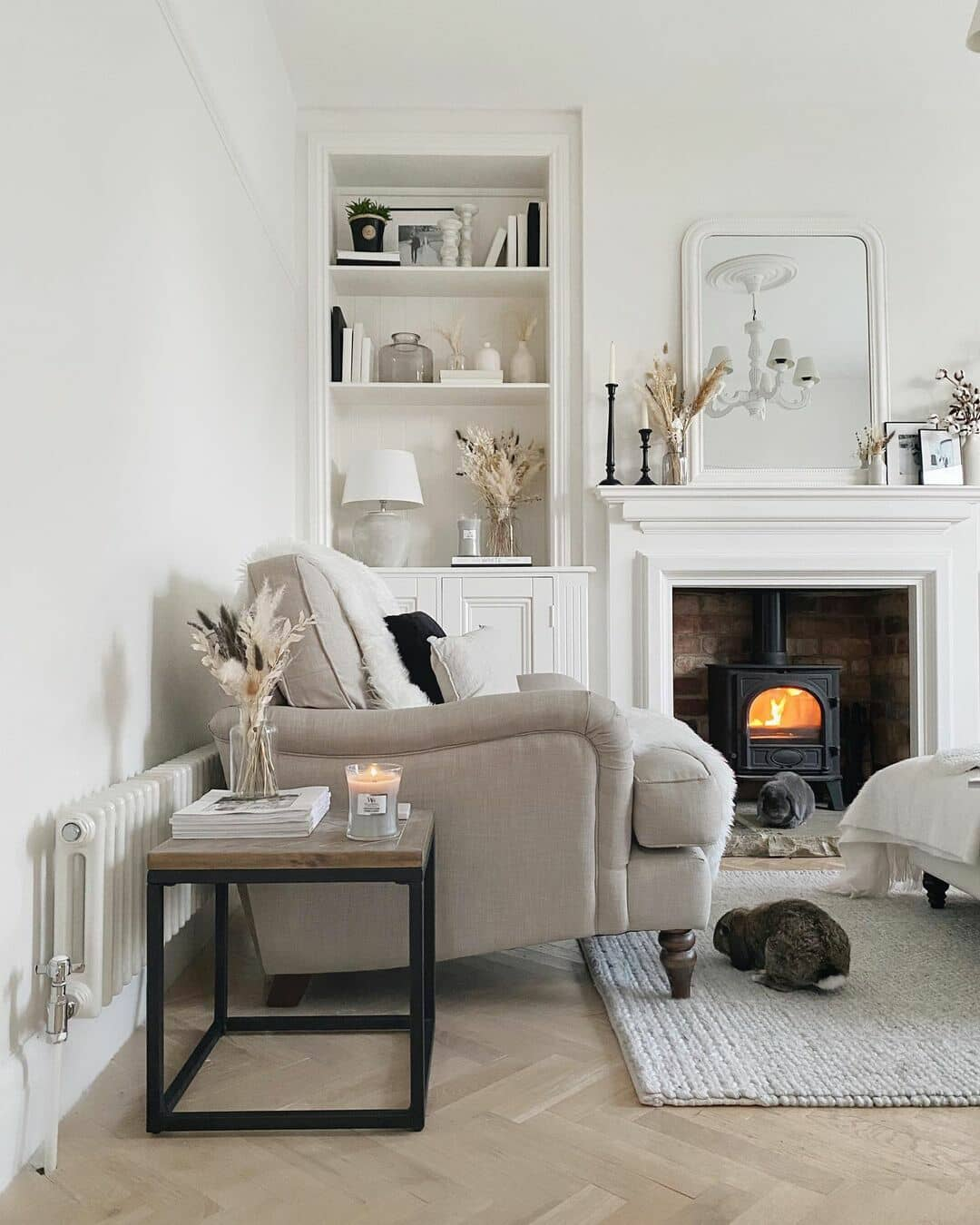 white radiator in a beige living room