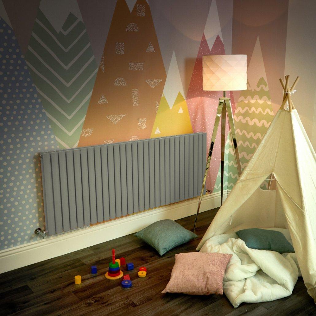sage green Milano Aruba radiator in a playroom