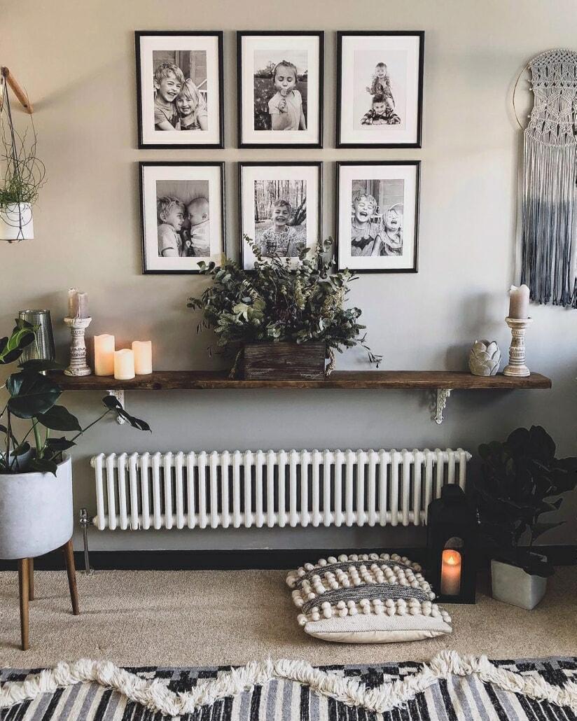 Milano Windsor cast-iron style radiator under a shelf.