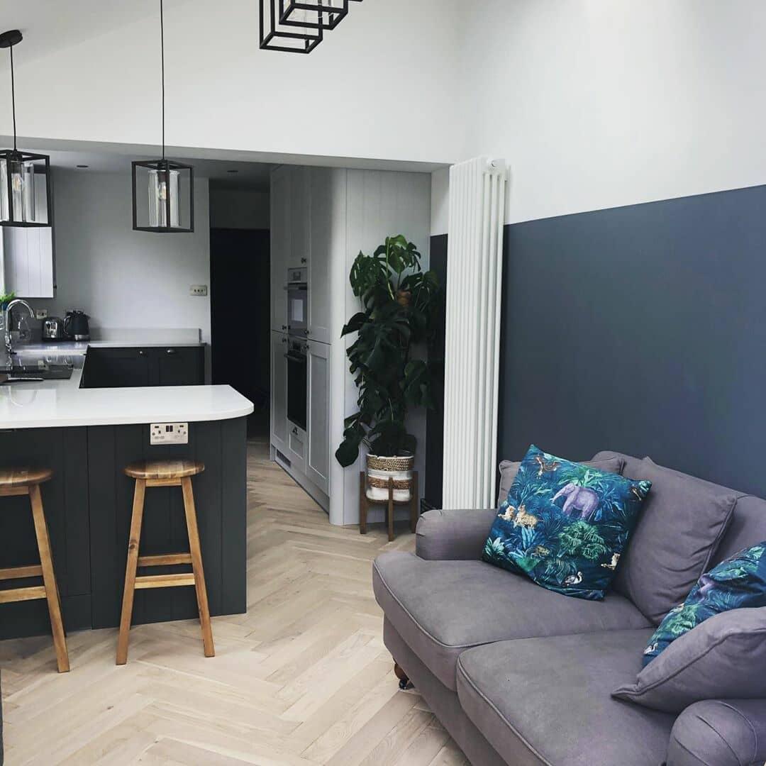 vertical radiator in a modern apartmenr