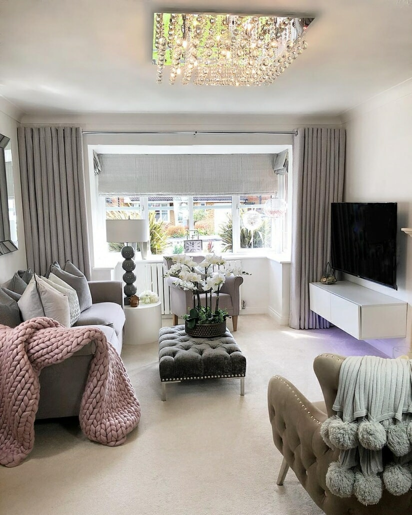 A modern grey and white living room.