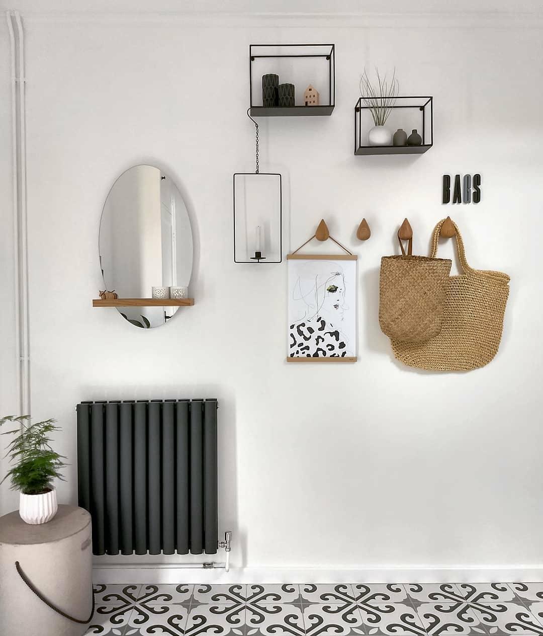 A Milano Aruba anthracite radiator on a white wall.