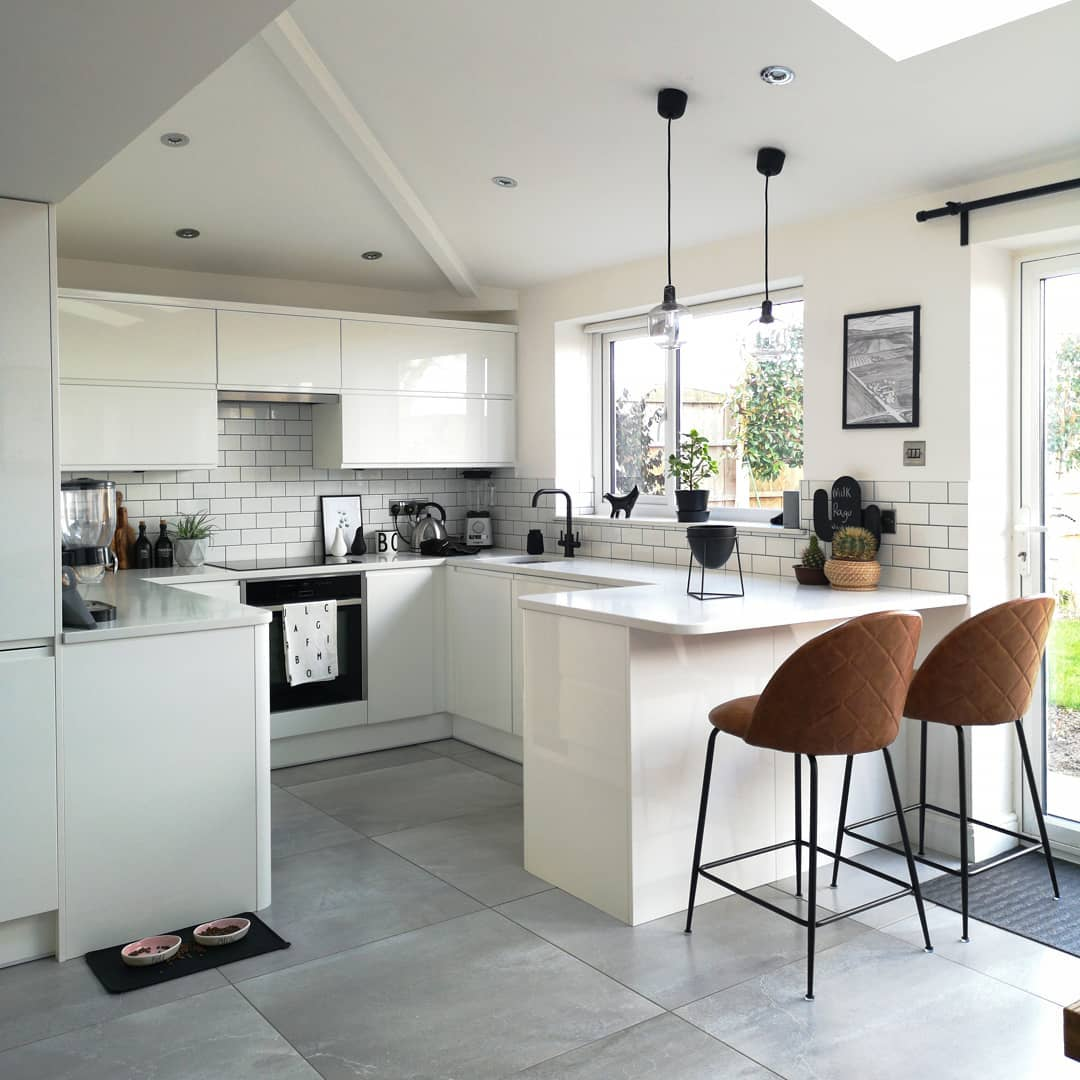 modern white kitchen with two bar stools