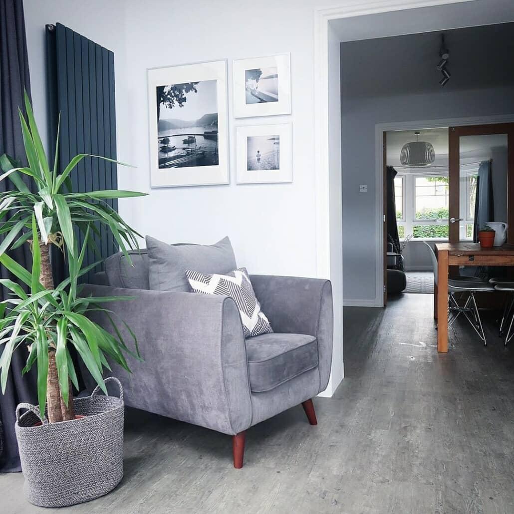 Milano Alpha vertical radiator in a living room
