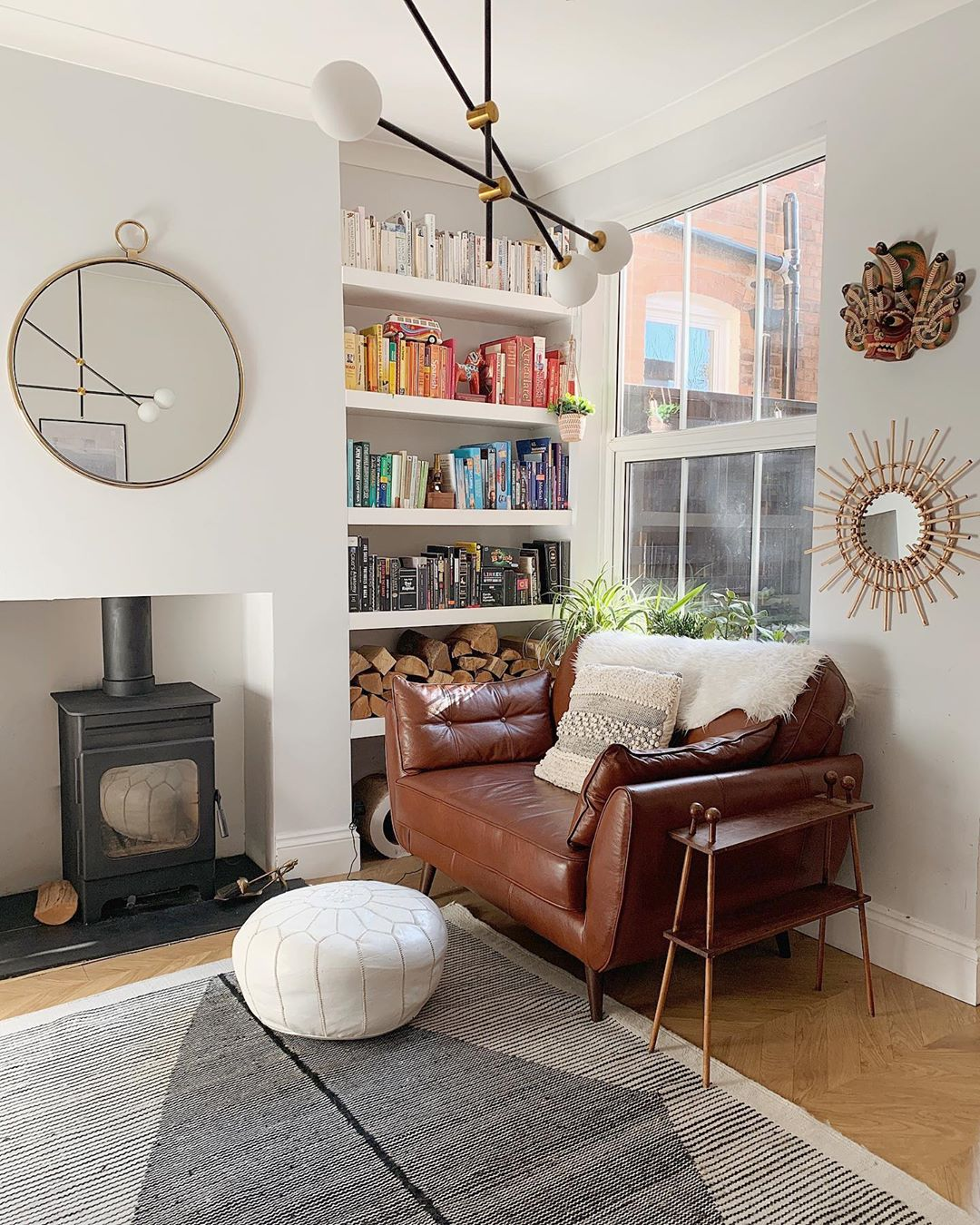 vintage sofa in a white living room