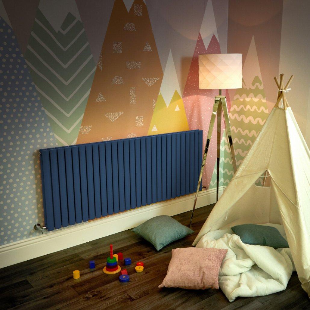 navy blue Milano Aruba radiator in a playroom