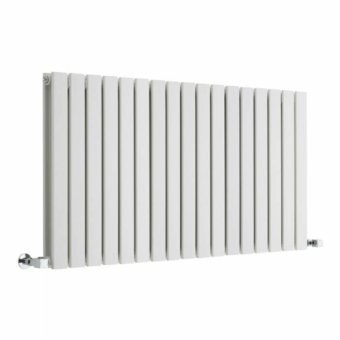 Milano Alpha - White Horizontal Double Slim Panel Designer Radiator
