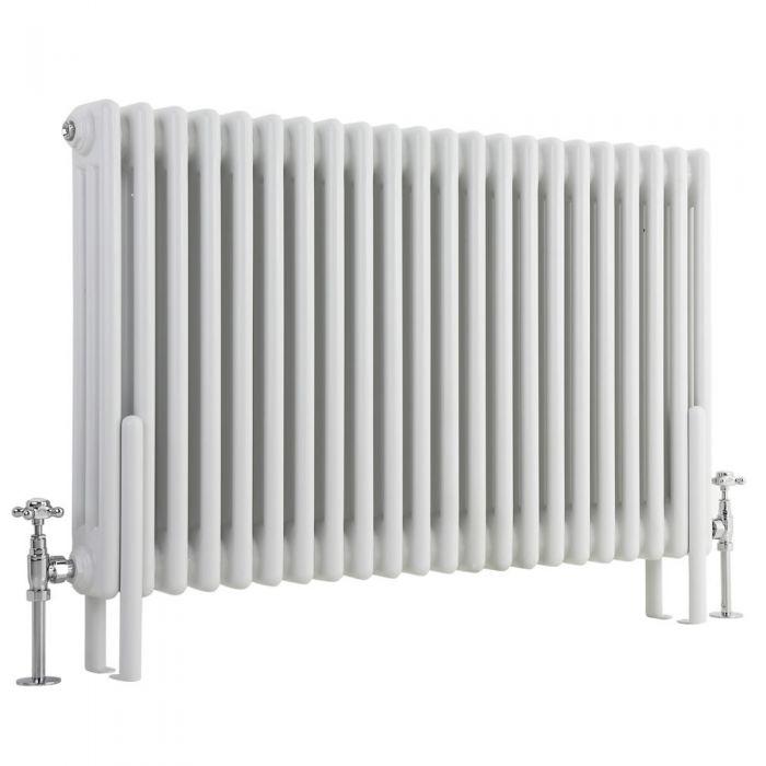 Milano Windsor - Horizontal Triple Column White Traditional Cast Iron Style Radiator - 600mm x 1010mm
