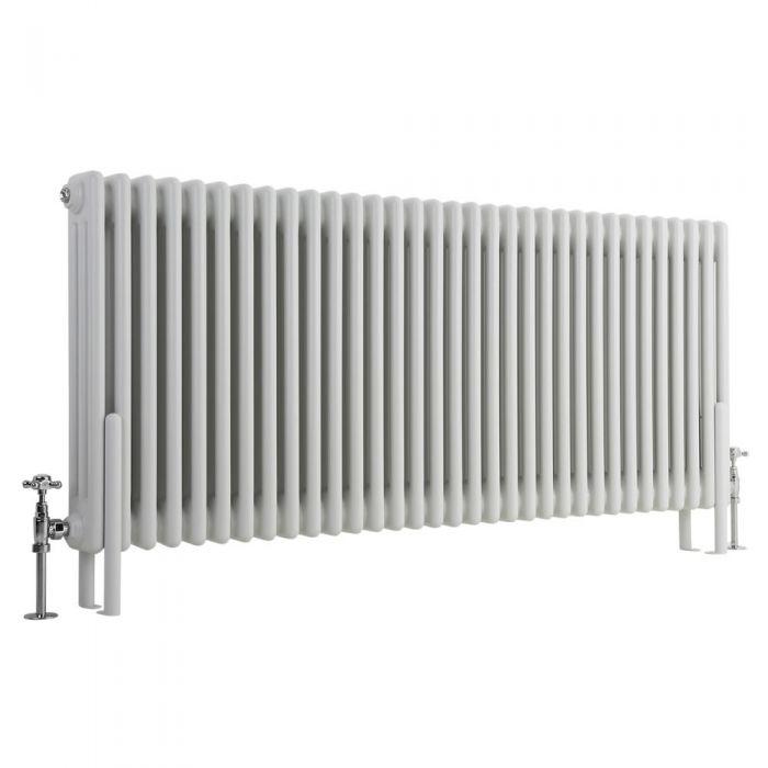 Milano Windsor - Horizontal Triple Column White Traditional Cast Iron Style Radiator - 600mm x 1505mm