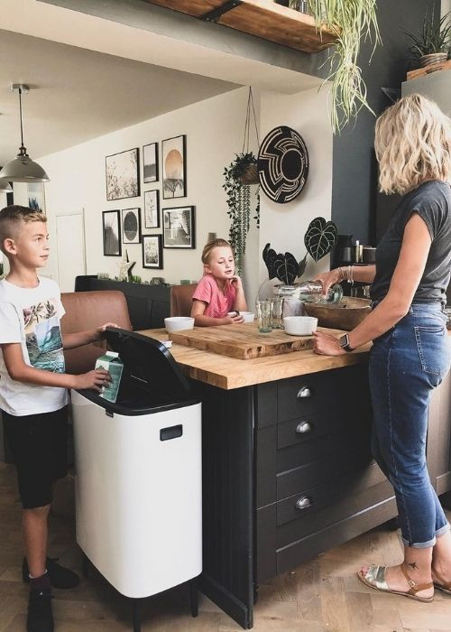 laura in the kitchen with her children