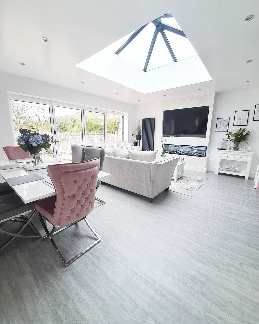 open plan living and dining space