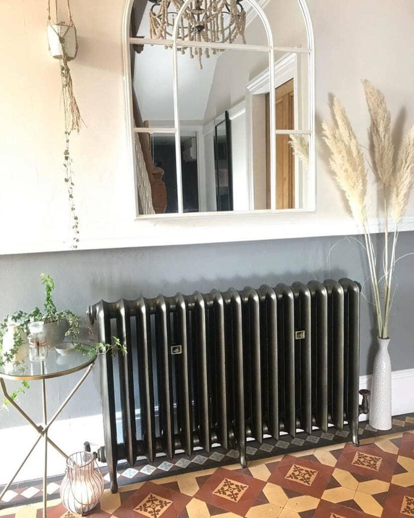 close up of Rachael's new cast iron radiator