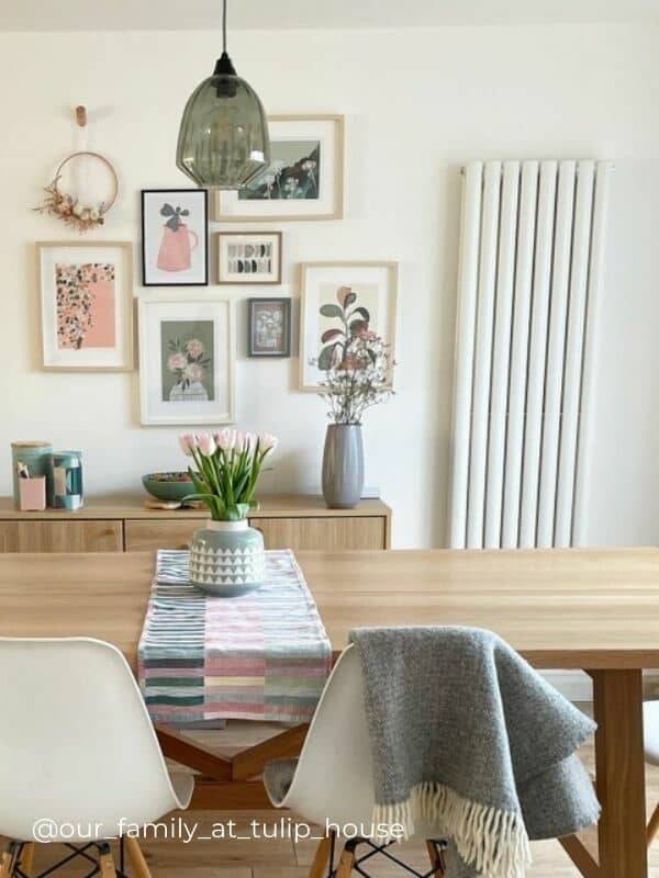 a vertical radiator in a dining room