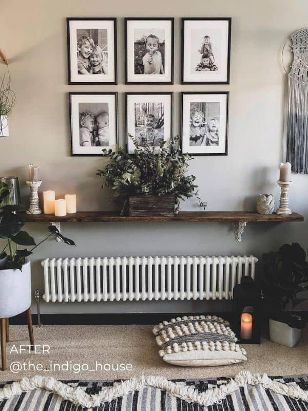 a vintage inspired white column radiator under a shelf