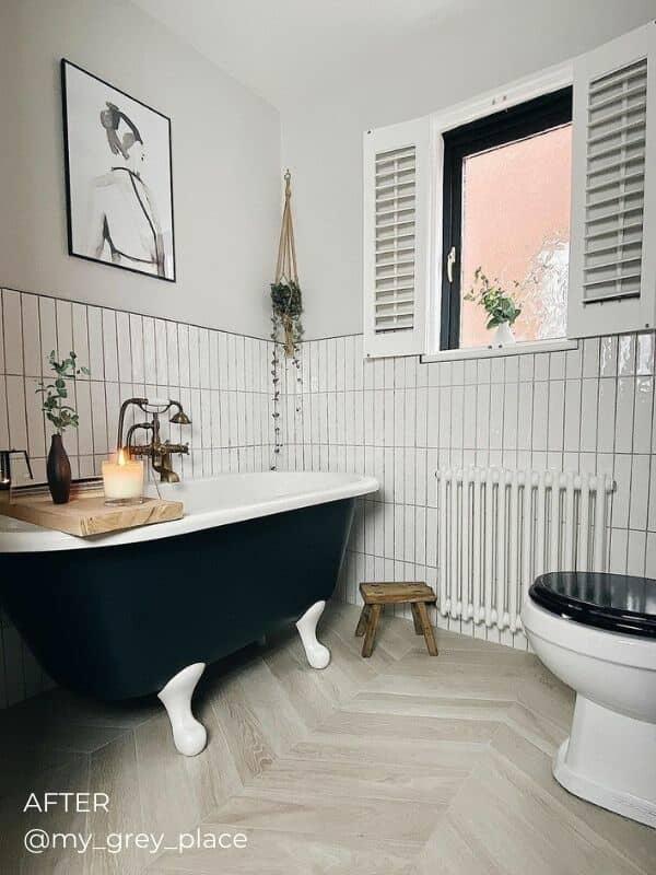 white column radiator in a modern boho bathroom
