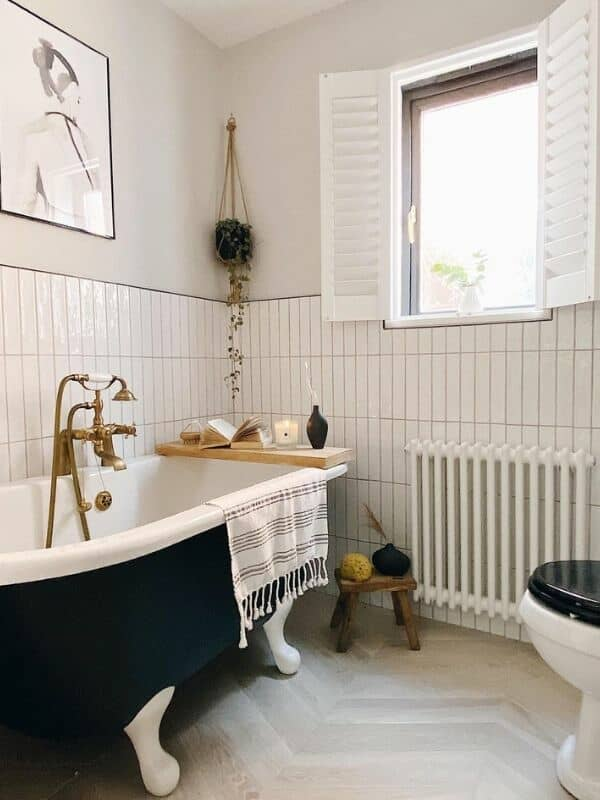 white column radiator in a boho style bathroom