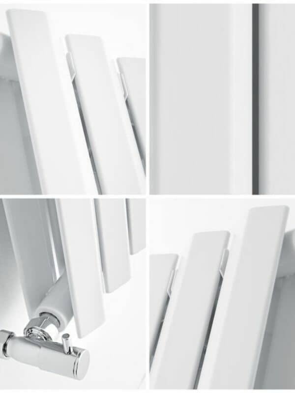 close up quad image of a milano viti vertical radiator