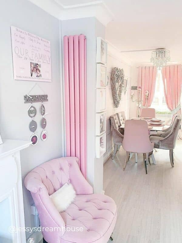 pink vertical radiator in a living room
