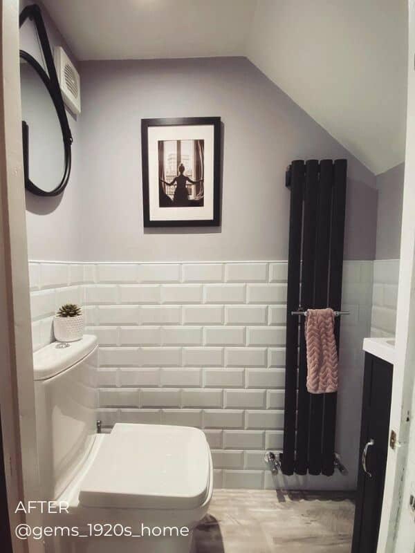vertical designer radiator in a bathroom