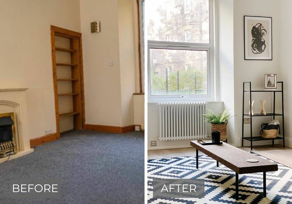 before and after living room decor