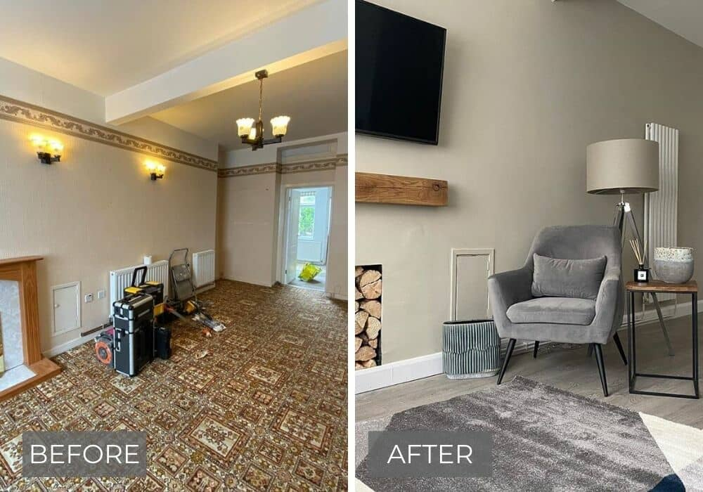 before and after living room transformation