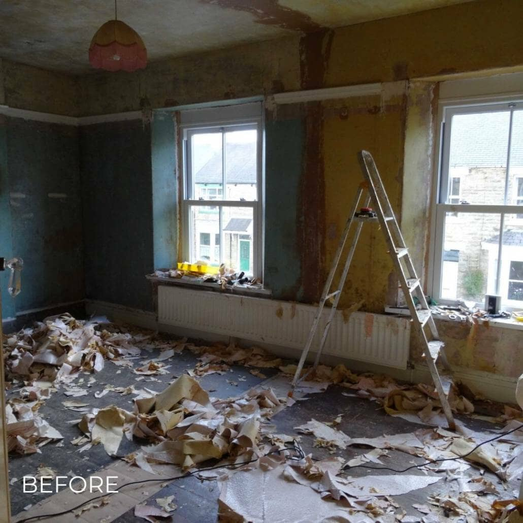 room with an old radiator during a renovation
