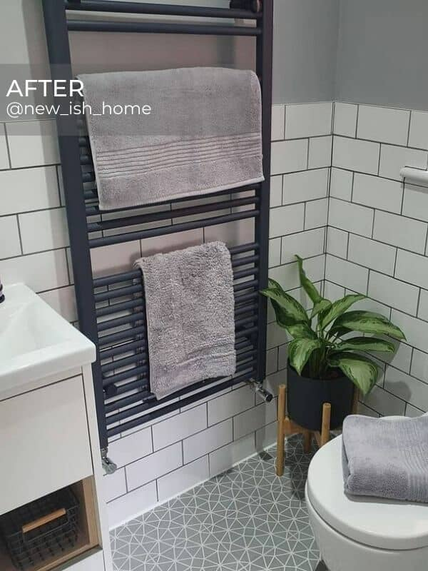 anthracite heated towel rail in a modern bathroom