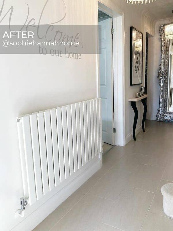 modern white designer radiator in a hallway