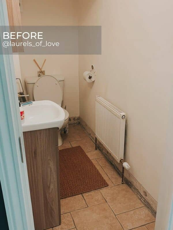 old radiator in a bathroom during renovation