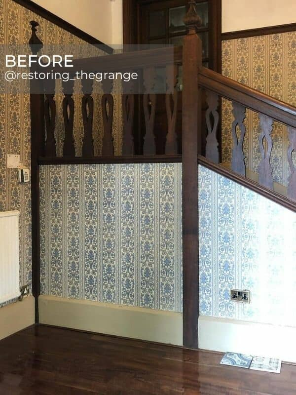 hallway with an old radiator during renovation