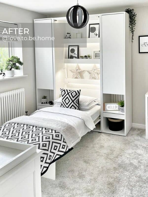 white column central heating radiator in a modern bedroom