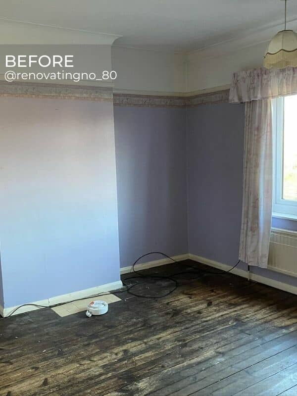 old radiator in a bedroom during renovation