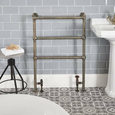traditional minimalist heated towel rail in a bathroom