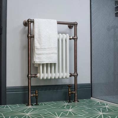 traditional milano elizabeth column heated towel rail in a bathroom