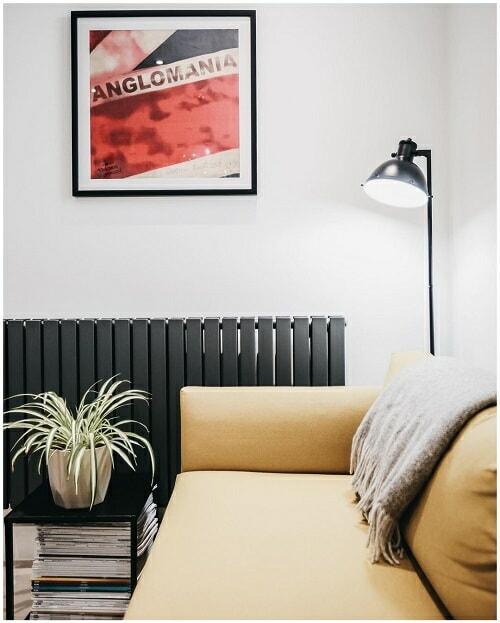 horizontal designer radiator in a living room