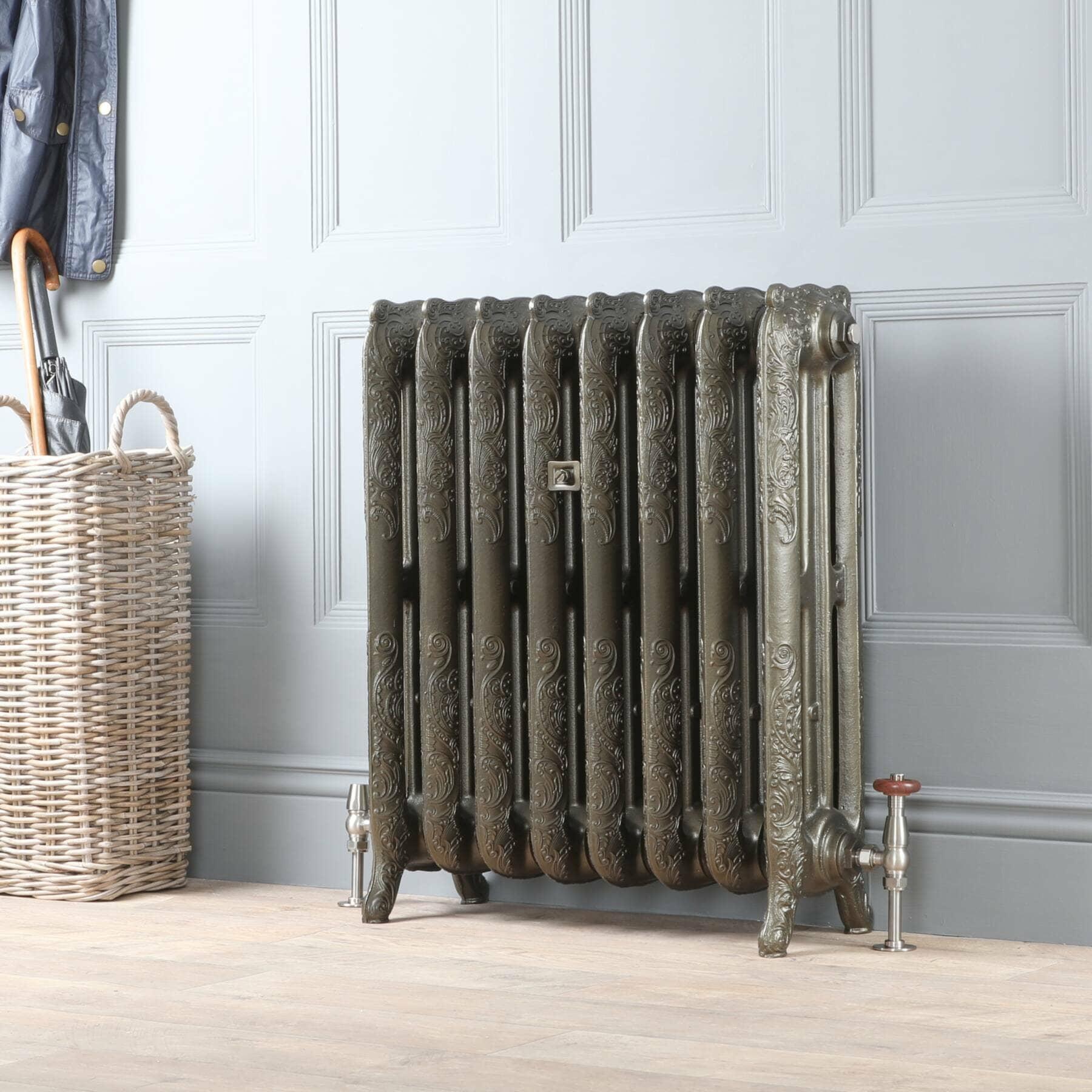 Milano Beatrix cast iron radiator in a hallway