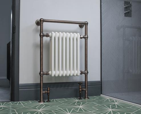 Milano Elizabeth heated towel rail in bathroom