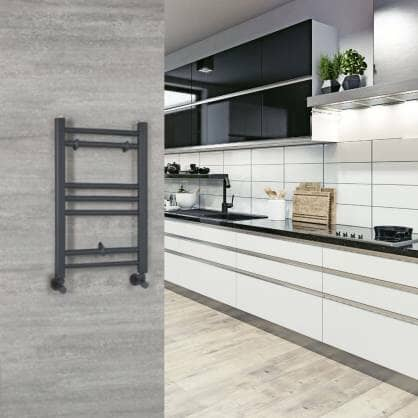 Milano Artle heated towel rail in a kitchen