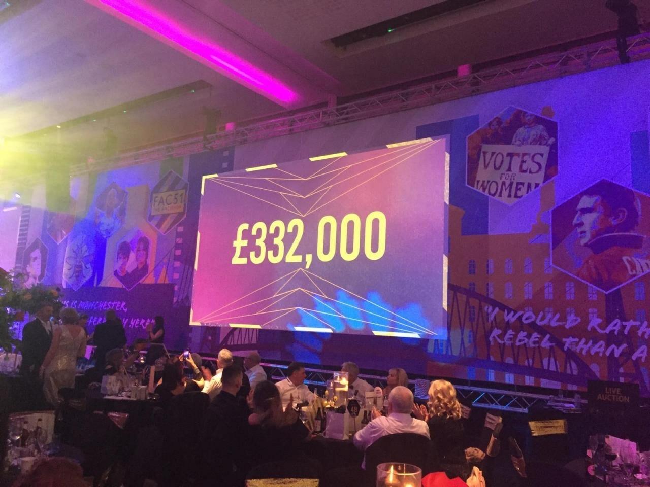 money raised at The Ronald McDonald House Charities Manchester Gala