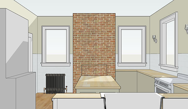 a 3d picture of a kitchen space