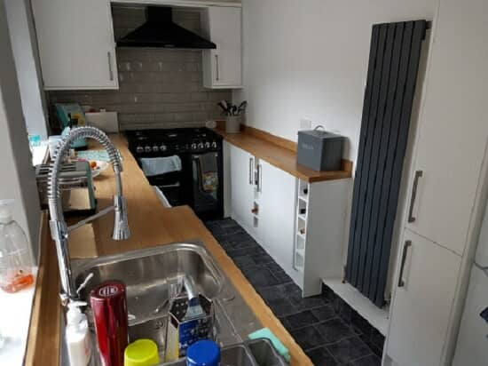 a capri radiator in a galley style kitchen