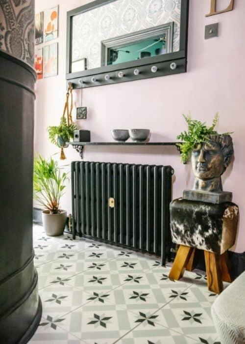 milano mercury cast iron radiator in a hallway