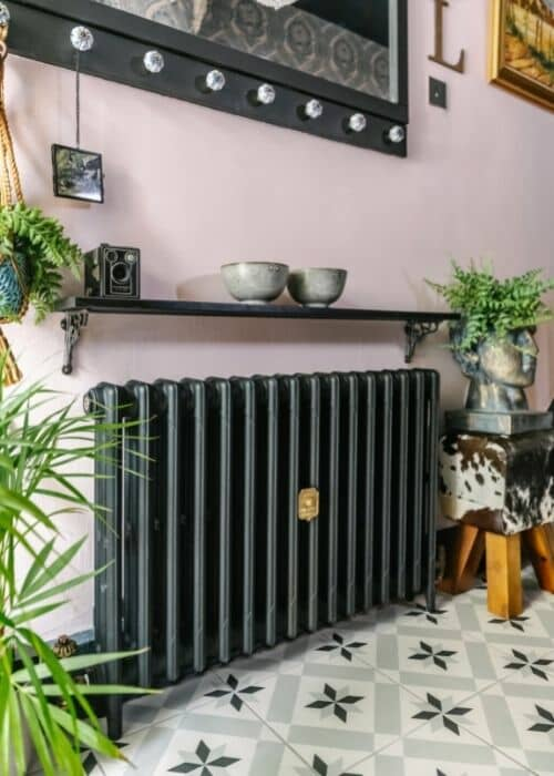 lily's cast iron radiator in the new hallway