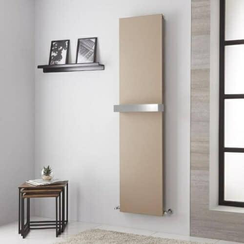 modern beige vertical radiator in a grey room