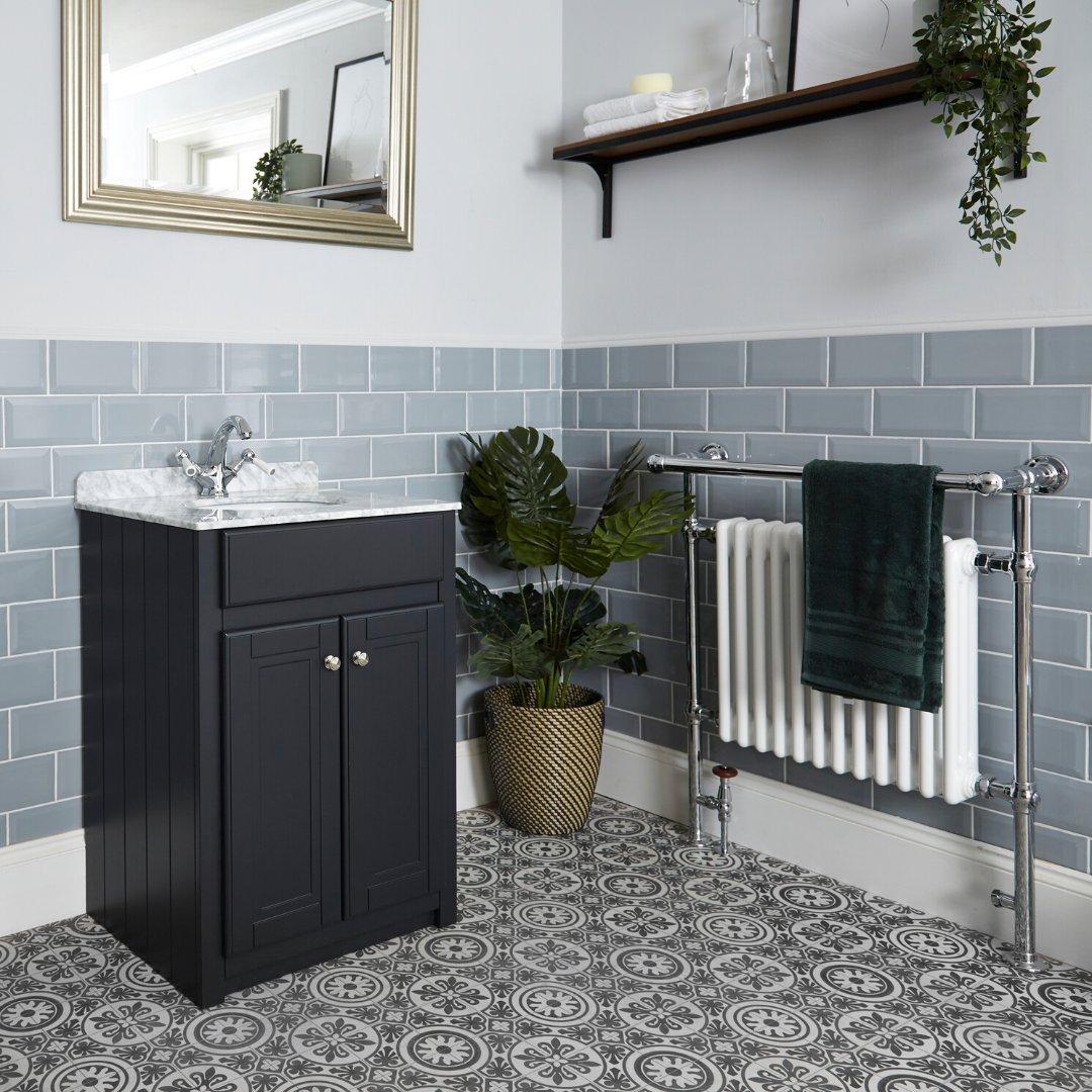 Traditional towel rail in a modern bathroom