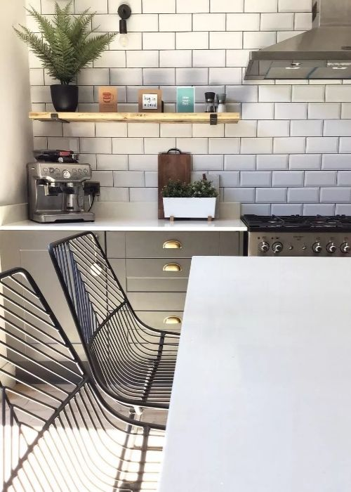 black stools in a kitchen