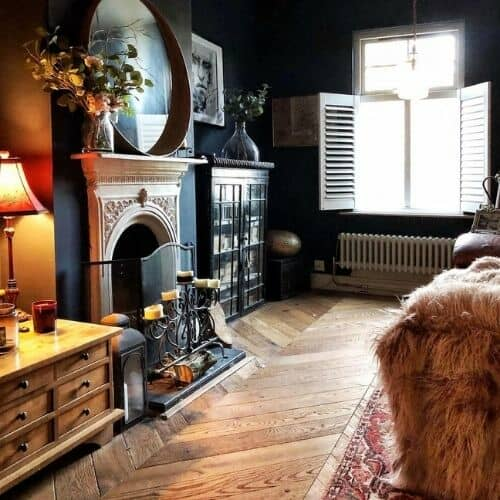 low level radiator in a small living room