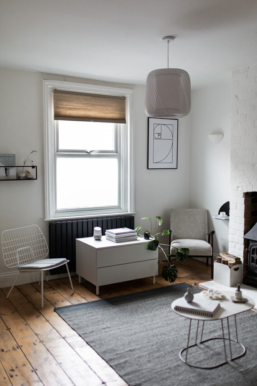 Designer radiator in a Nordic style living room