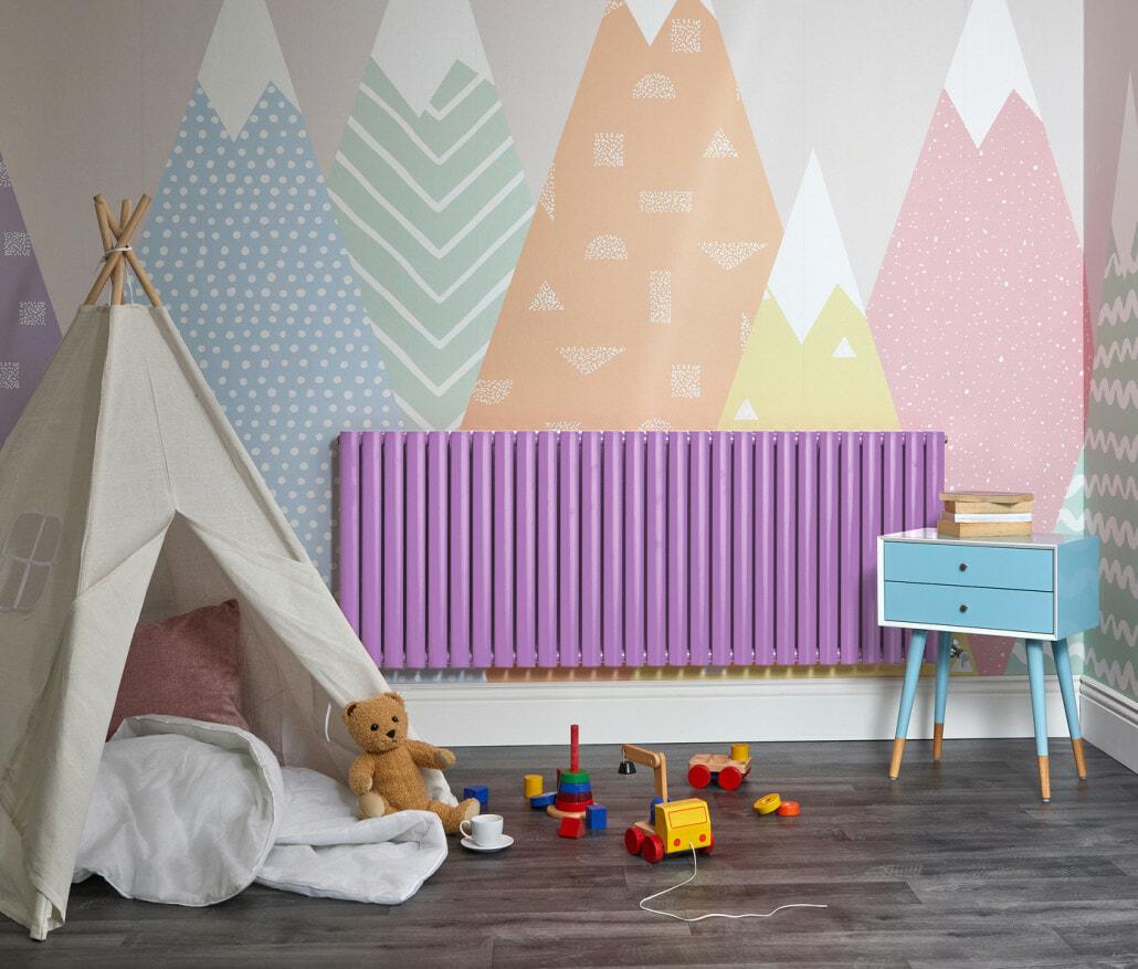 Purple Milano Aruba designer radiator in a playroom